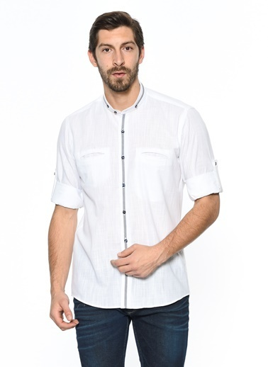 Hakim Yaka Slim Fit Oxford Gömlek-Dewberry
